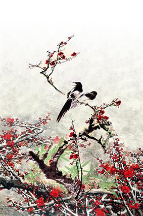 定位植物梅花小鸟