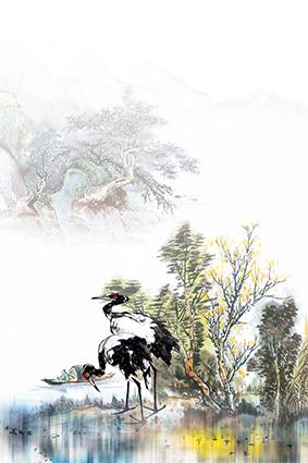 湖面树梢湖边仙鹤