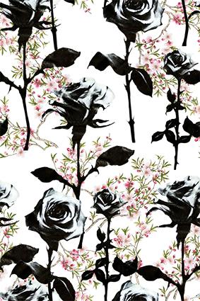 黑色玫瑰元素小碎花