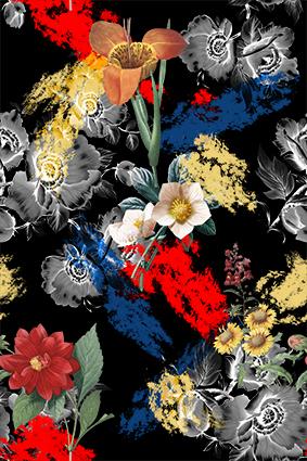 灰白植物手绘花朵