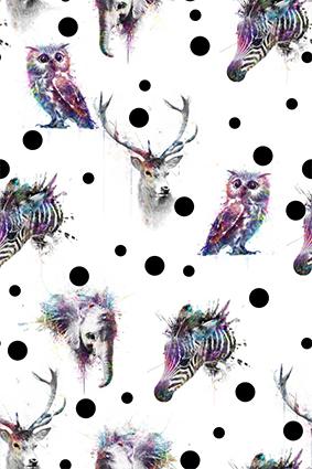 水彩多色动物头像