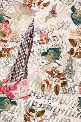 钢琴音符时钟铁塔