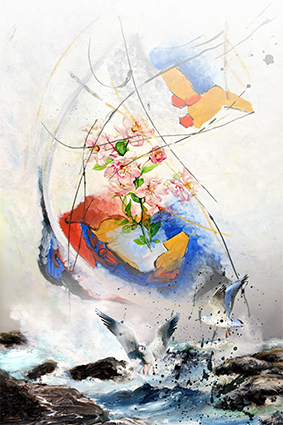 仙鹤海浪色彩花朵