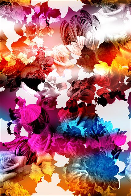 渐变水彩妖艳花朵