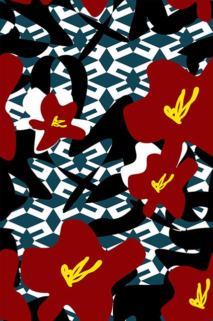 黑色块简约红花
