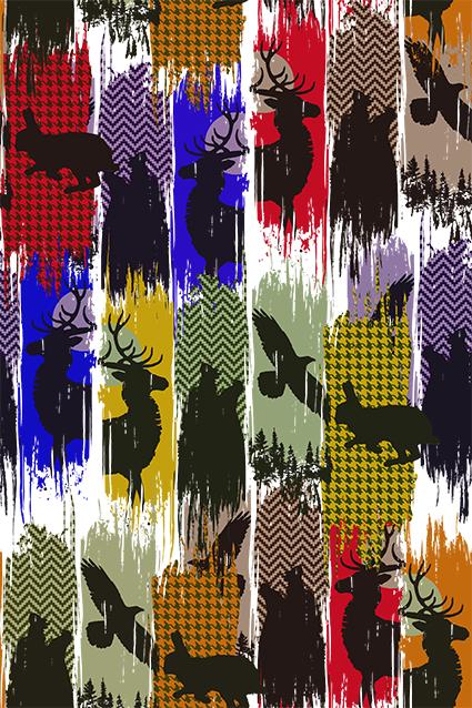 几何抽象布纹迷鹿