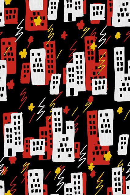 卡通建筑楼房图案