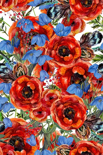 手绘真彩植物花色