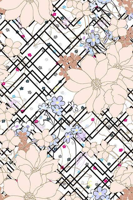线条花窗水彩花色