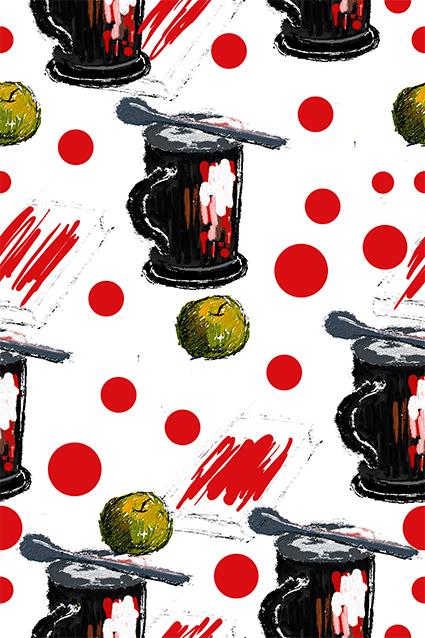 涂鸦咖啡杯波点