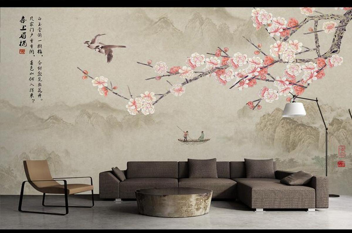 手繪墻紙壁畫216456554