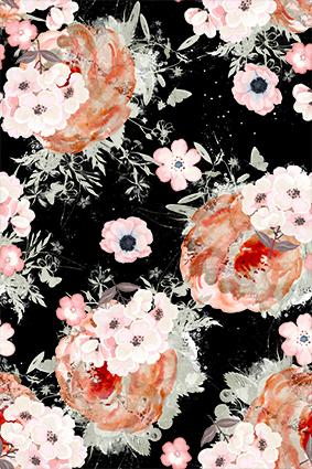 黑底大手绘白花卉