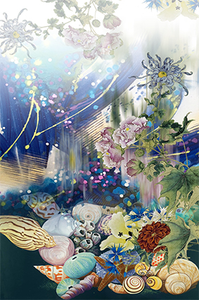 点缀炫彩水彩花朵