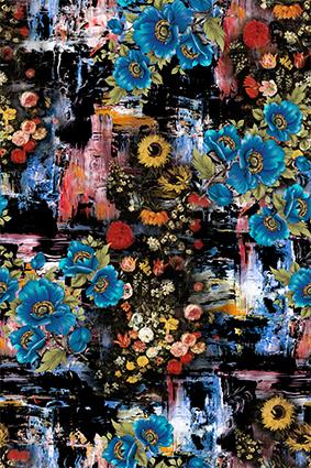 抽象涂鸦蓝色花朵