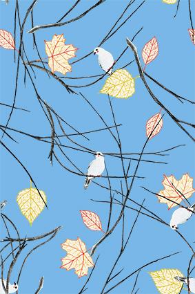 浅蓝底枯枝树根花鸟