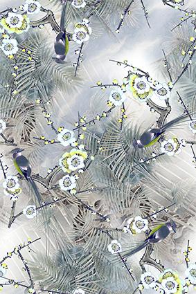 热带植物矢量花鸟