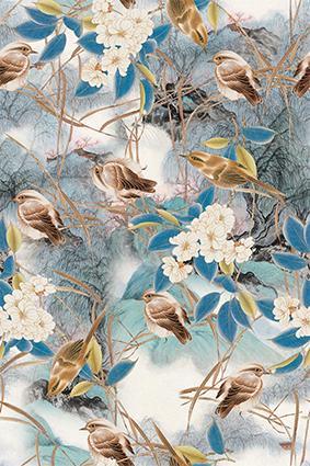 手绘小鸟枝叶花朵