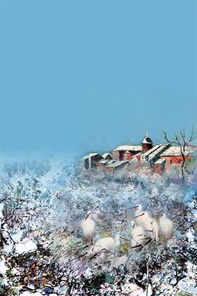 涂鸦冰雪小鸟鹌鹑房屋