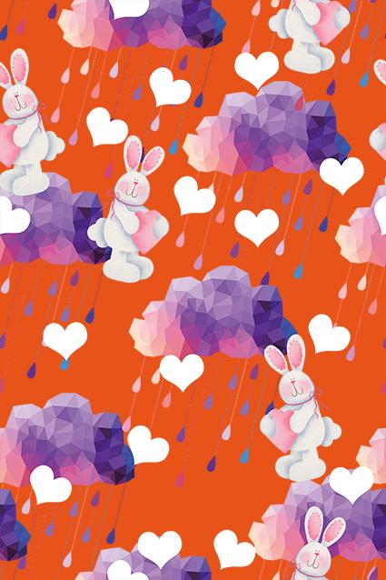 卡通兔子立体方格