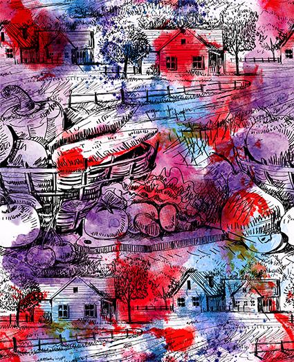水彩素描渲染房屋
