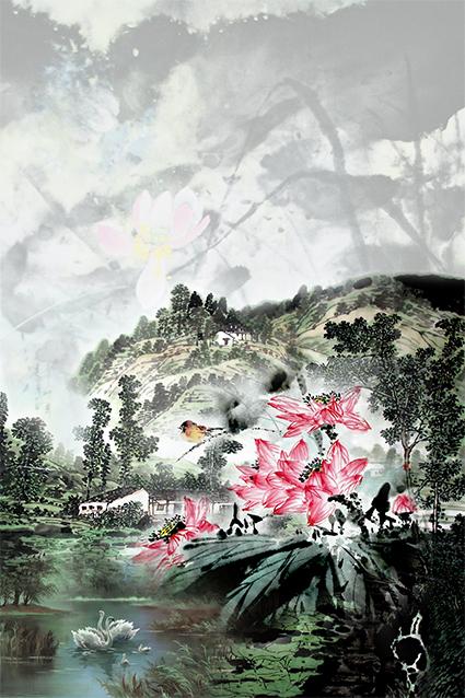 韵染风景湖边花卉