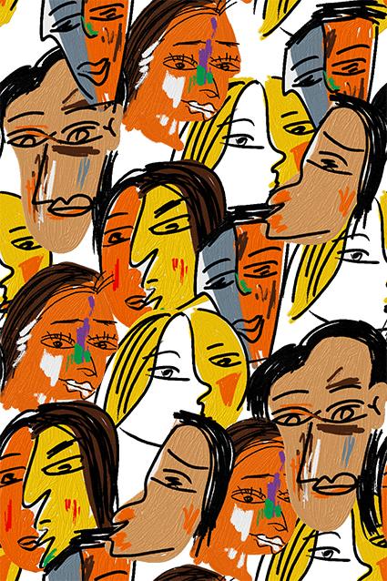 抽象人物色彩图案