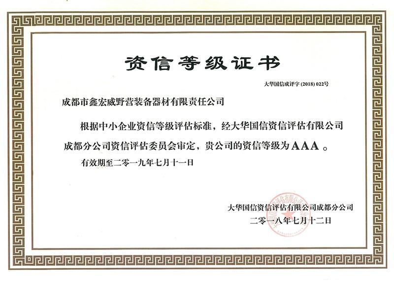 AAA资信等级证书
