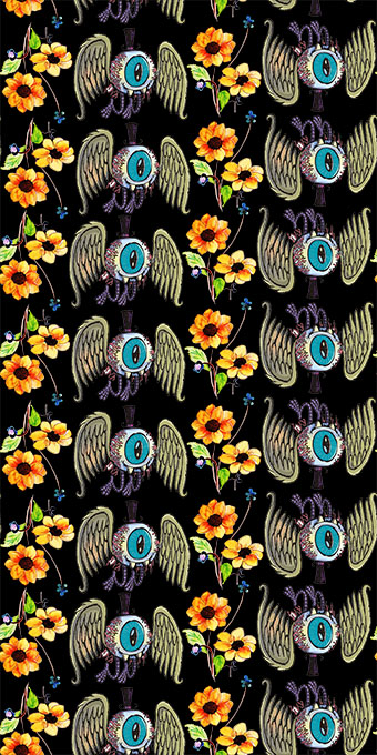 眼球翅膀盛开花朵