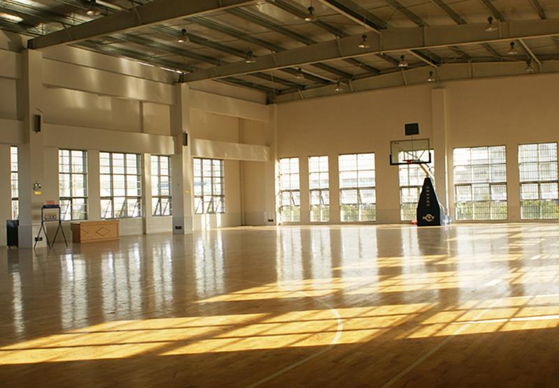 偌大的室内篮球场