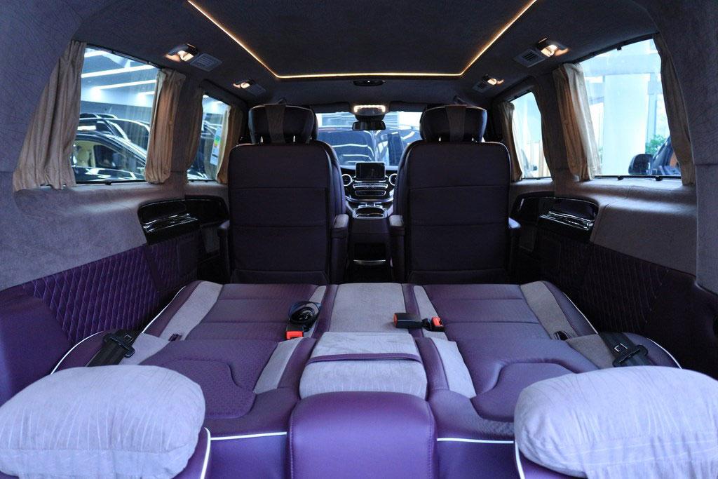 奔驰|进口v250奔驰商务房车紫色内饰