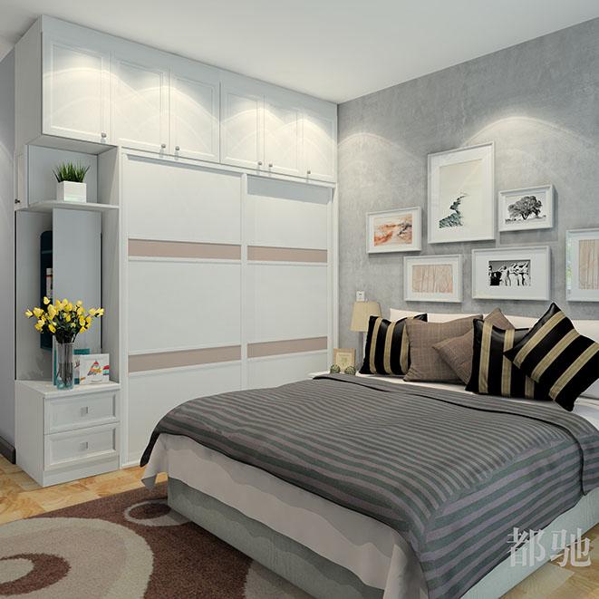 大气简欧卧室 一体到顶衣柜效果图
