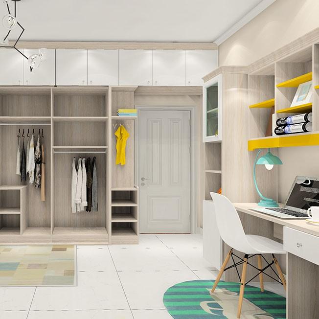 北欧简约卧室效果图超大衣柜