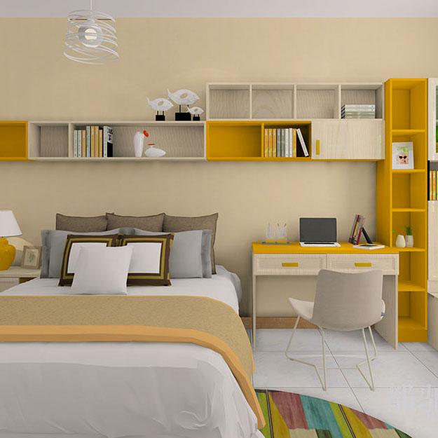 现代儿童房卧室效果图 榻榻米书房多功能房