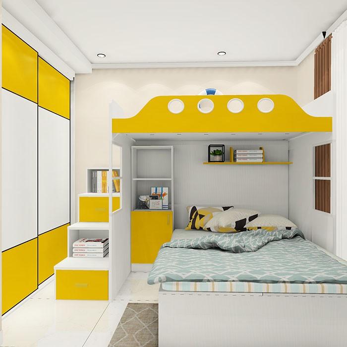 卧室上下错位床设计 色彩明亮活泼 二孩首选