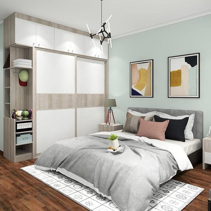 卧室飘窗利用收纳 大衣柜 北欧风效果图