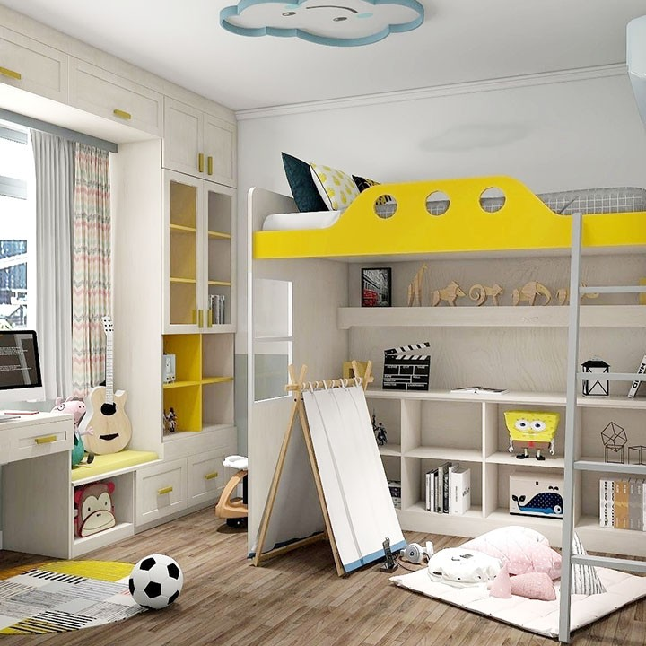 儿童房上下床  飘窗利用 超大益智玩乐区