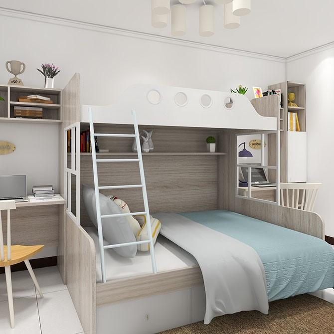 儿童房错位上下床效果图 干净整洁
