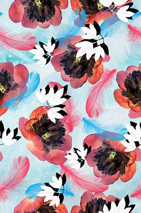 真彩渲染羽毛花朵