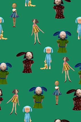 绿底芭比迷你卡通娃娃