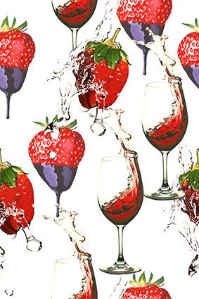 酱汁草莓高跟红酒杯