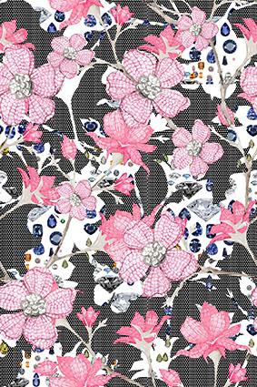 密集波点粉色斑纹花卉
