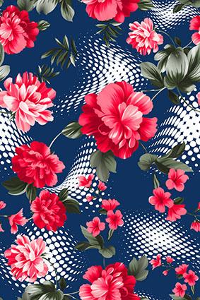 宝蓝底透视波点手绘红花朵