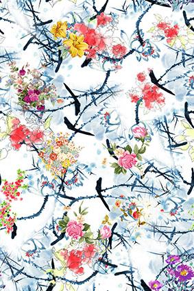 水墨效果树枝手绘装饰花琼