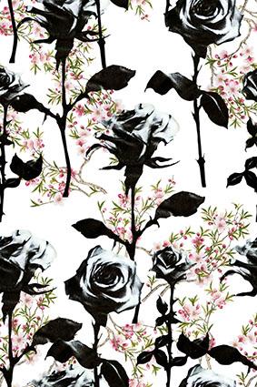 黑色韵染玫瑰怒放花卉