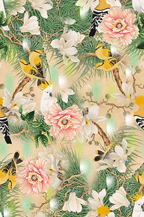 草丛小鸟淡雅牡丹