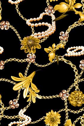 金黄锁链金属装饰花朵