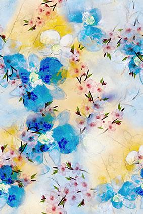 水彩绚烂盛开花冠