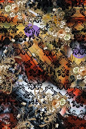 黑色花边杂乱抽象花型