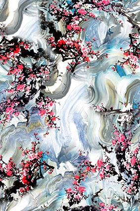 创意笔刷流体水彩梅花