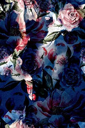 蓝色抽象艺术暗香花朵